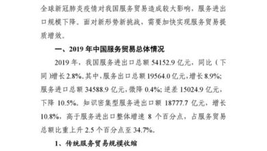 Photo of China's service trade in spring 2020 From Ministry of Commerce