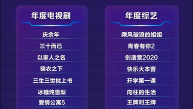 """Photo of The top 10 TV series """"Qingnian Nian"""" won the title in 2020 From Baidu boiling point"""