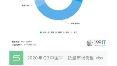 Photo of Q3 market share of China's Tablet PC manufacturers' shipment volume in 2020