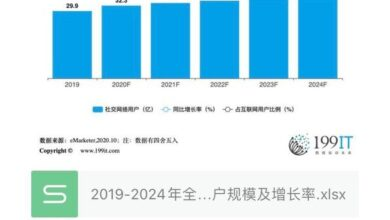 Photo of Scale and growth rate of global social network users in 2019-2024