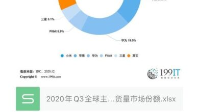 Photo of Q3 global major wristwear wearable device manufacturers' shipping volume market share in 2020