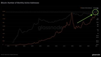 Photo of In January 2021, the number of active bitcoin addresses exceeded 22.3 million, a record high From Glassnode