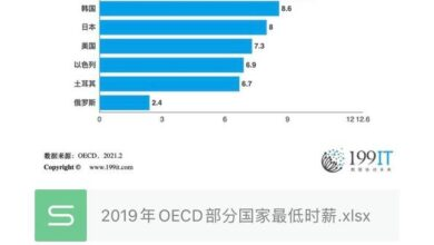 Photo of Minimum hourly wage in some OECD countries in 2019